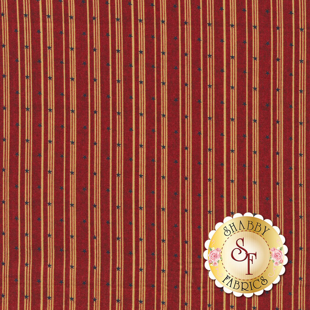 Cream stripes with blue stars all over red | Shabby Fabrics