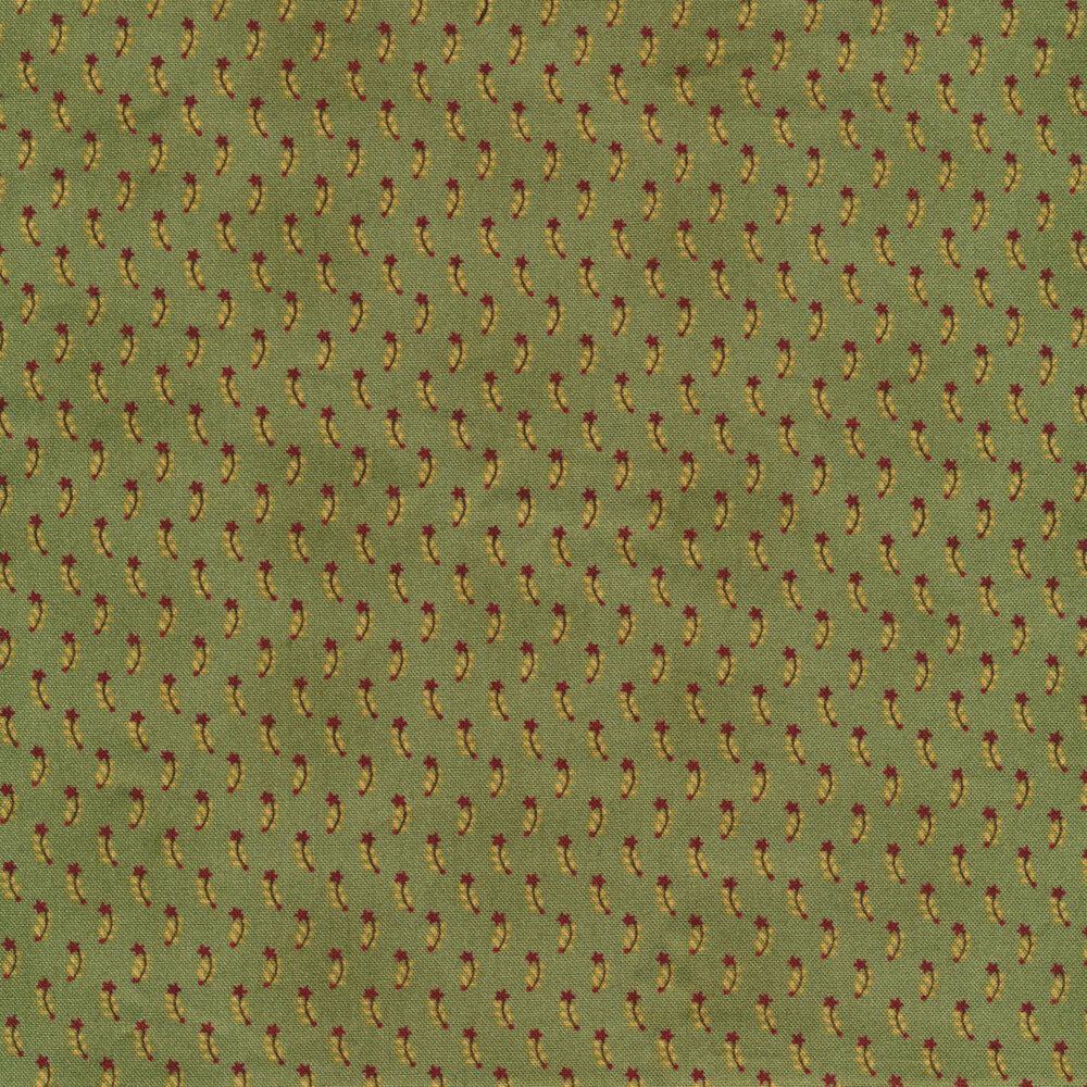 Red stars with tan all over green | Shabby Fabrics