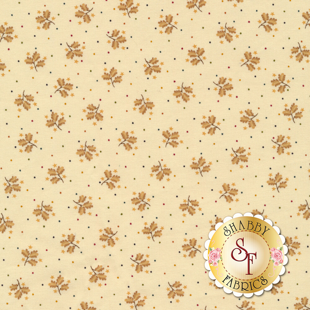 Mutlicolored scattered dots and tan flowers all over cream | Shabby Fabrics