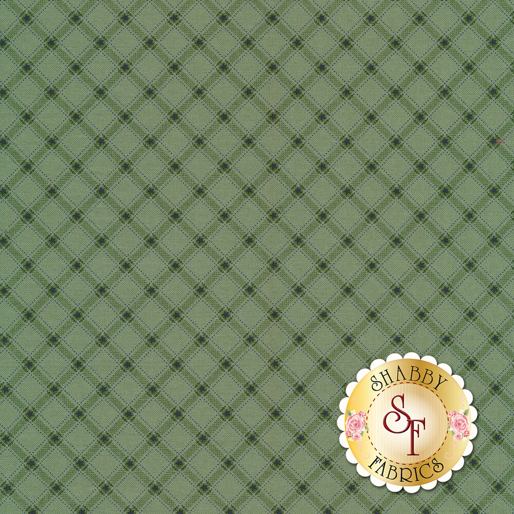 Green ticking plaid with blue stars all over green | Shabby Fabrics