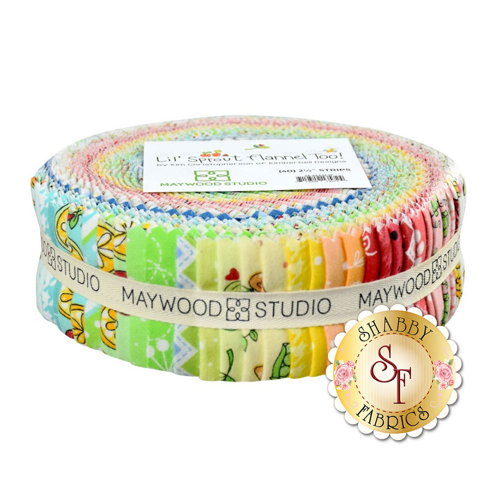 "Lil Sprout Flannel Too 2 1/2"" Strips from Maywood Studio by Kim Christopherson"