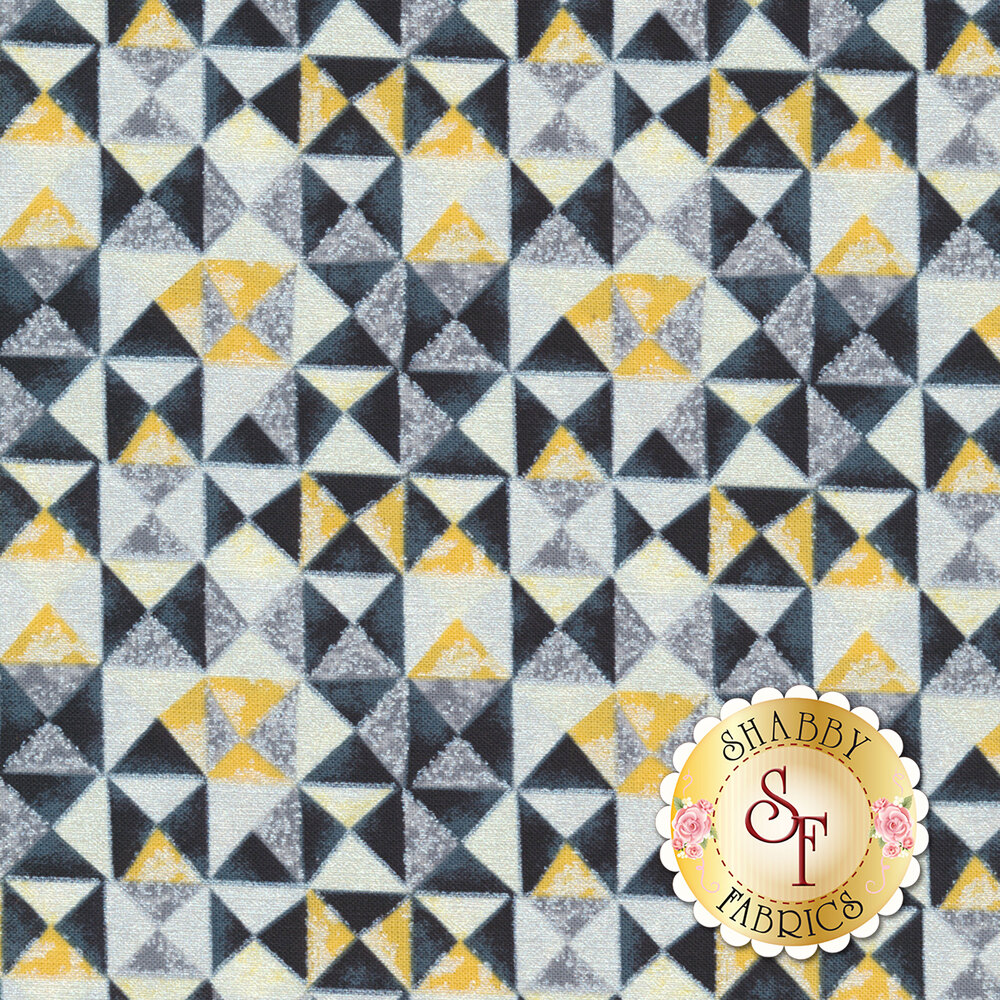 Limoncello 7741P-33 Mosiac Yellow Charcoal by Kanvas Studio Fabrics available at Shabby Fabrics