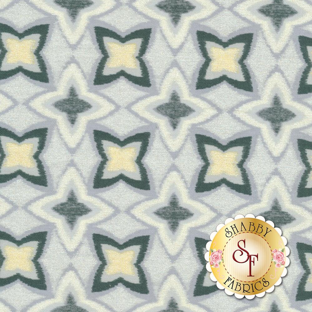 Limoncello 7743P-11 Pearl Flower Ikat Gray by Kanvas Studio Fabrics available at Shabby Fabrics