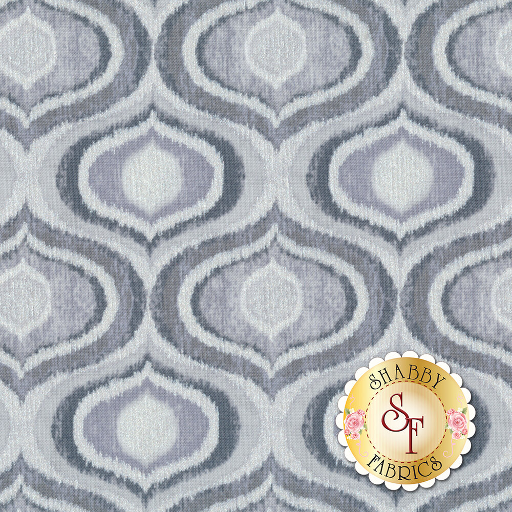Limoncello 7744P-11 Pearl Ogee Pewter by Kanvas Studio Fabrics available at Shabby Fabrics