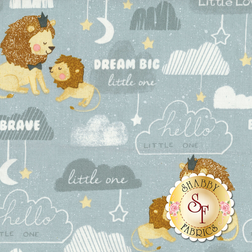 Lions on grey blue background with words and clouds | Shabby Fabrics