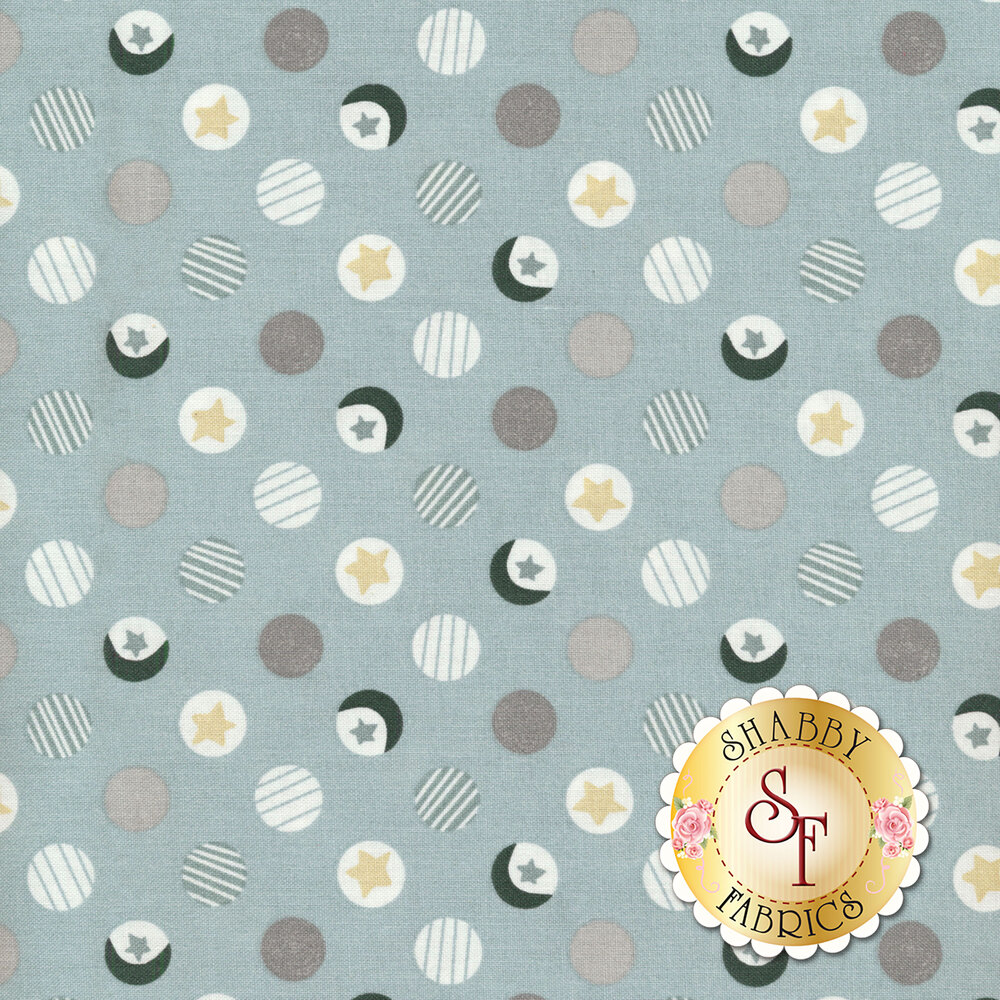 Polka dots with stars inside all over gray | Shabby Fabrics