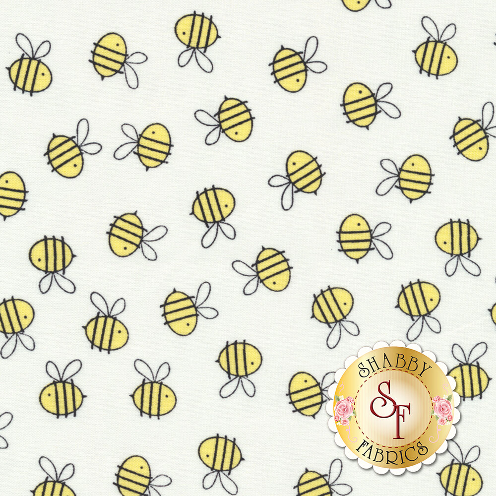 Little Sunshine 70441-159 Bees A/O White by Wilmington Prints