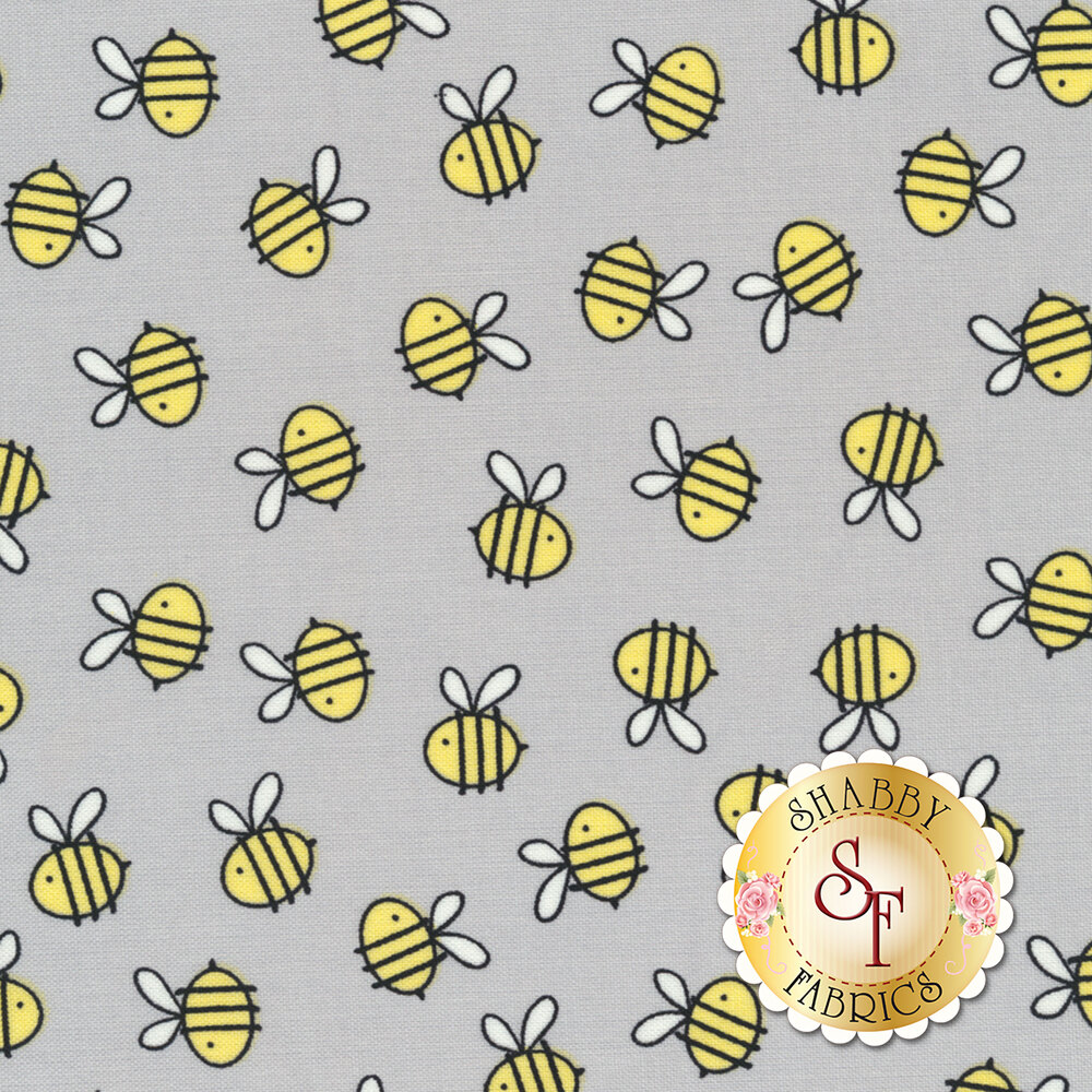 Little Sunshine 70441-959 Bees A/O Gray by Wilmington Prints