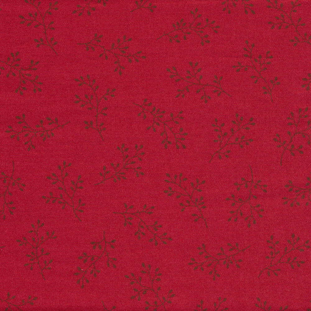 Dark red tossed sprigs on a red background