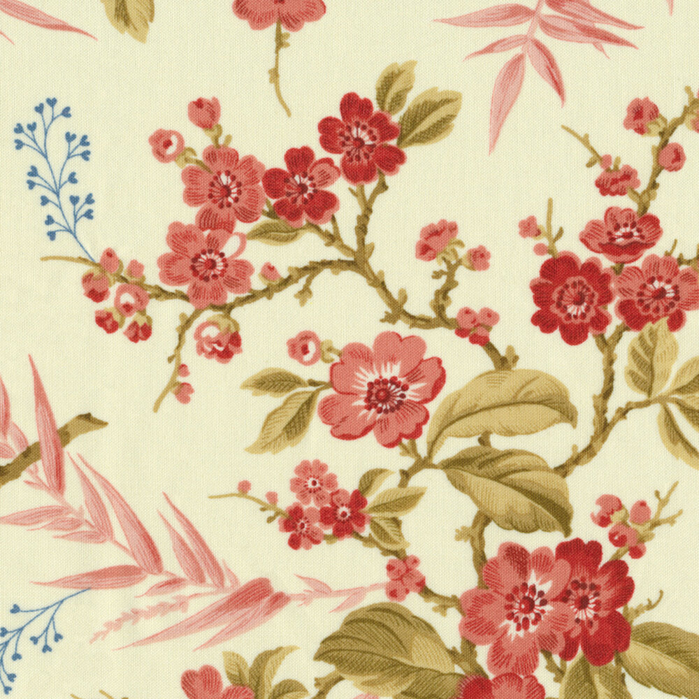 Pink and red florals and vines on a cream background