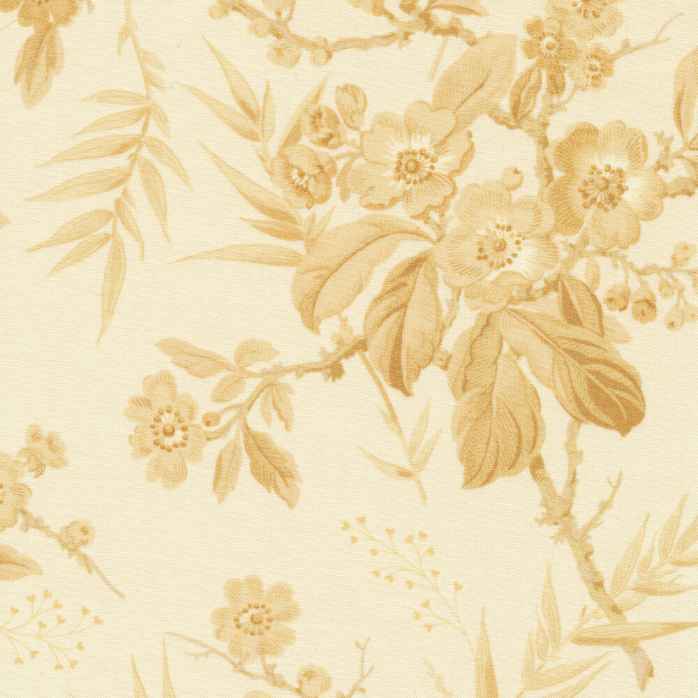 Light tan flowers and vines on a cream background