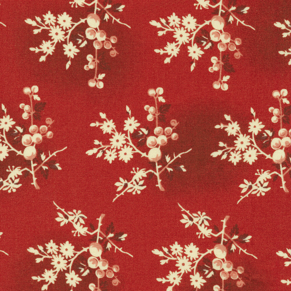Red and cream floral bunches on a crimson red mottled background
