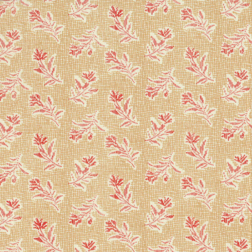 Tossed red flowers on a tan crosshatch background