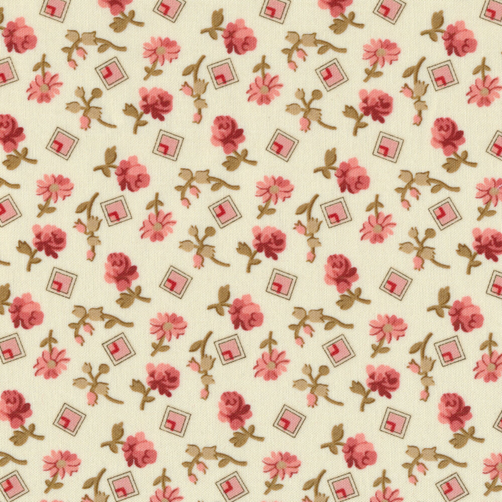 Tossed roses and pink squares on a cream background