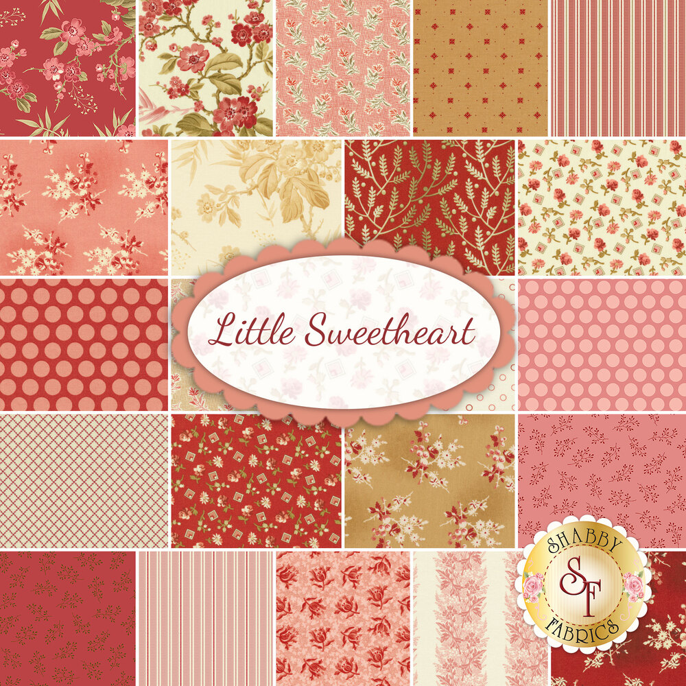 A collage of fabrics included in the Little Sweetheart fabric collection