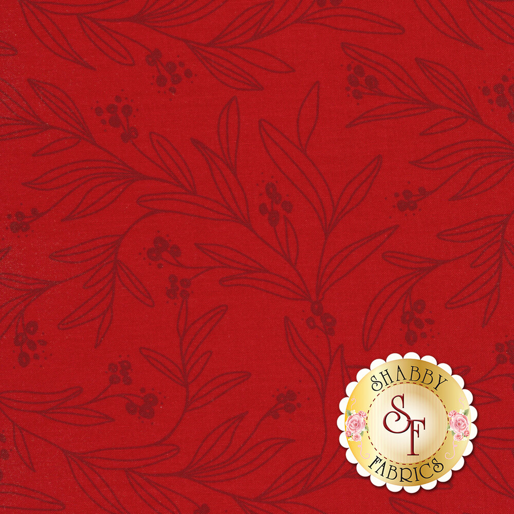 Red tonal fabric with floral outlines | Shabby Fabrics