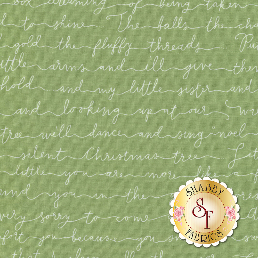 Forest green fabric with white cursive Christmas phrases | Shabby Fabrics