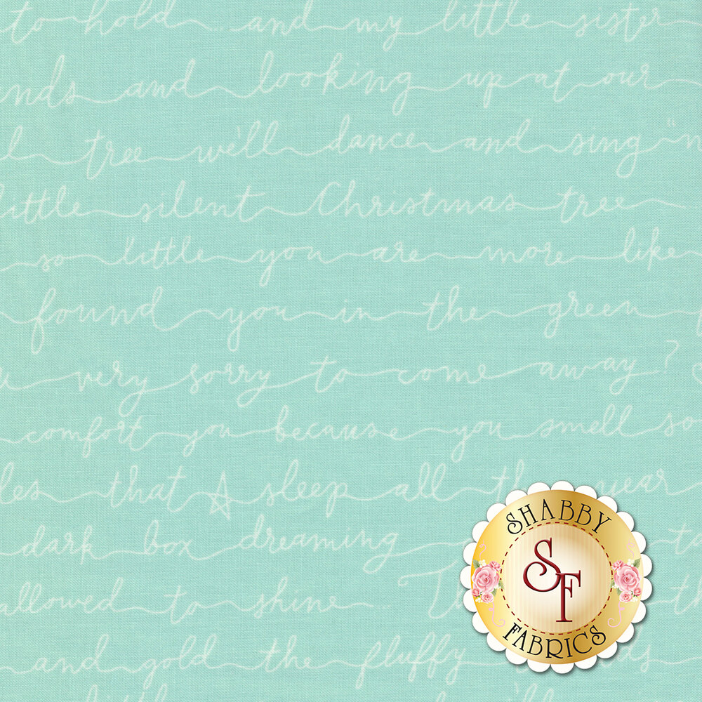 Aqua fabric with white cursive Christmas phrases | Shabby Fabrics