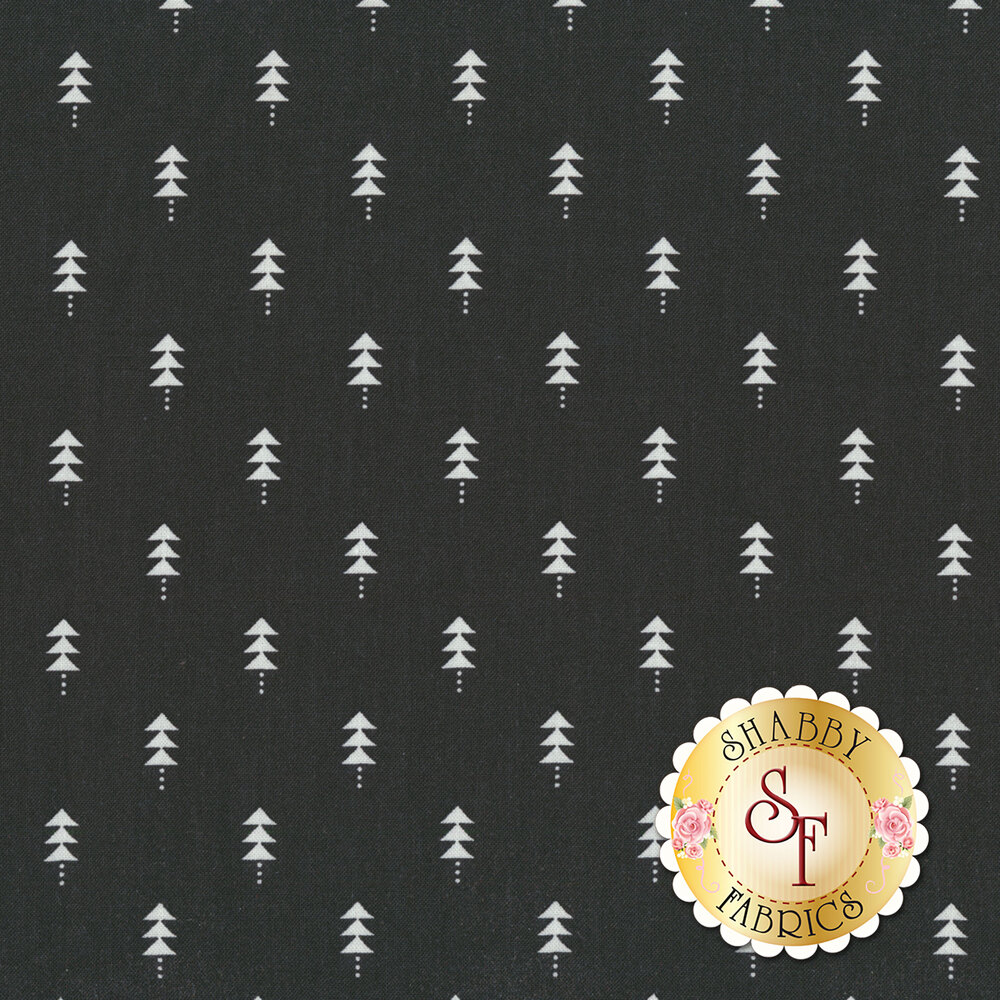 Black fabric with rows of white fir trees | Shabby Fabrics