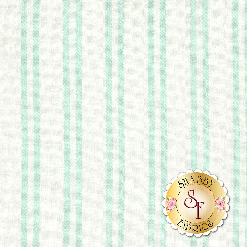 Aqua stripes on a white background | Shabby Fabrics