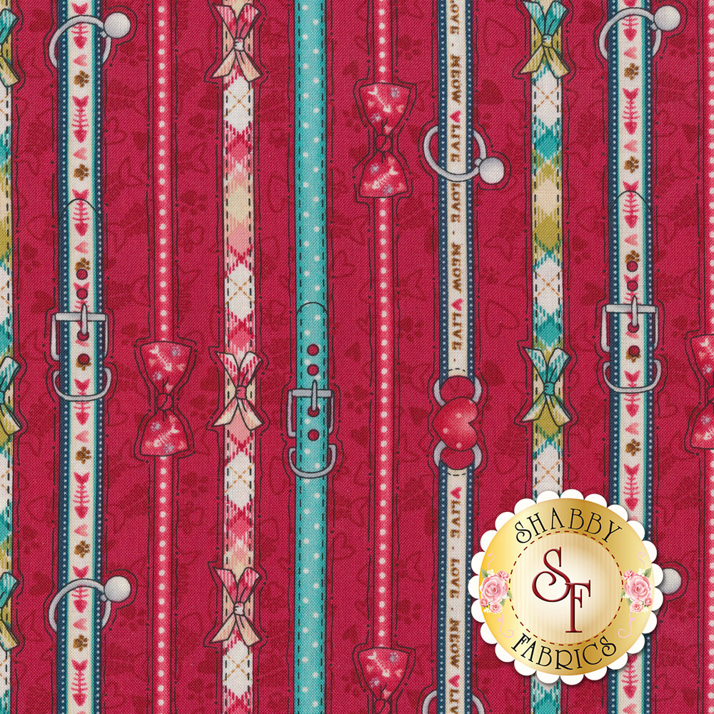 Pet collar strips all over red | Shabby Fabrics
