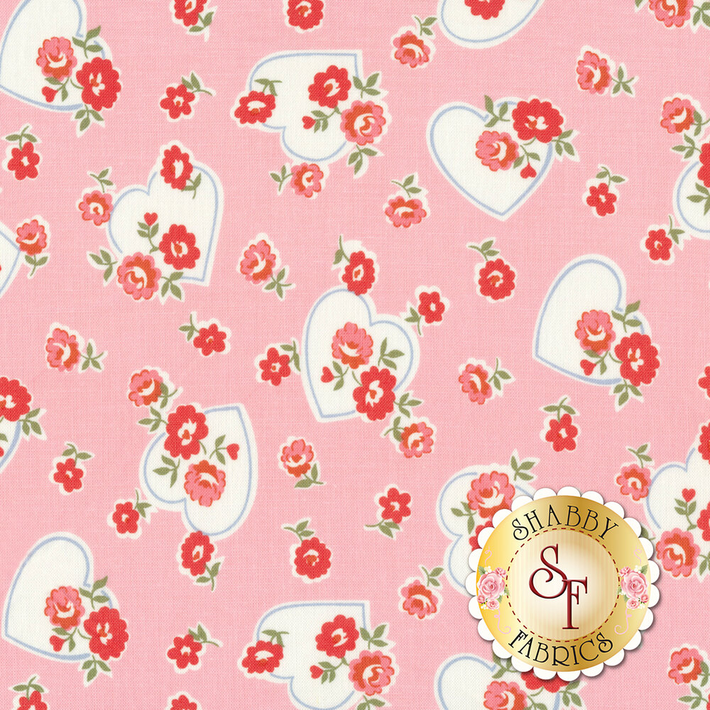 Pink and red flowers with white hearts on pink | Shabby Fabrics