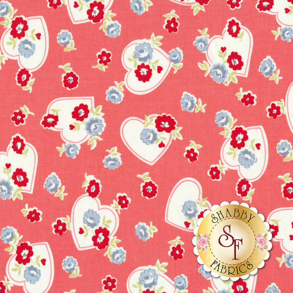 Red and blue flowers with white hearts all over pink/red | Shabby Fabrics