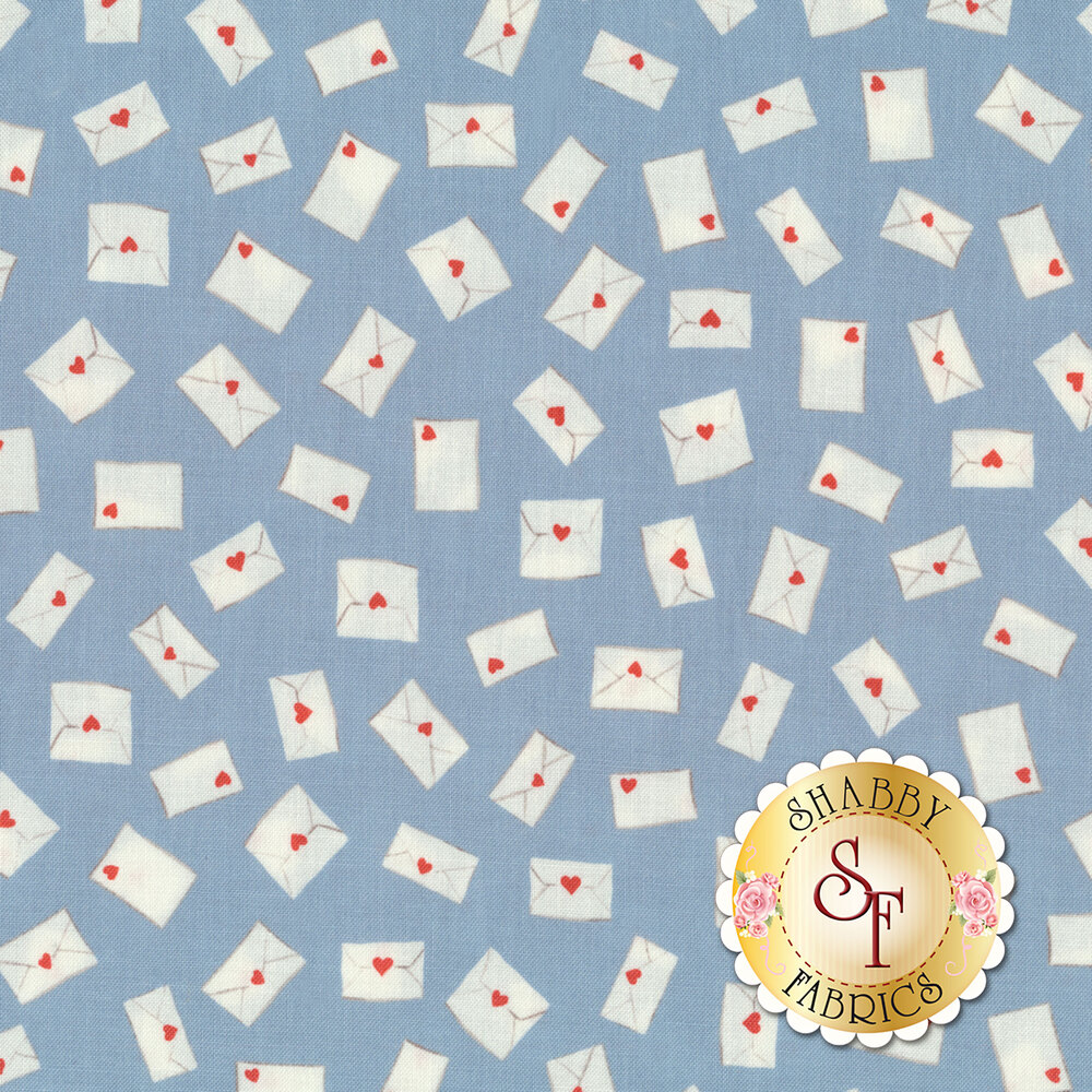 White letters with hearts on them all over blue | Shabby Fabrics