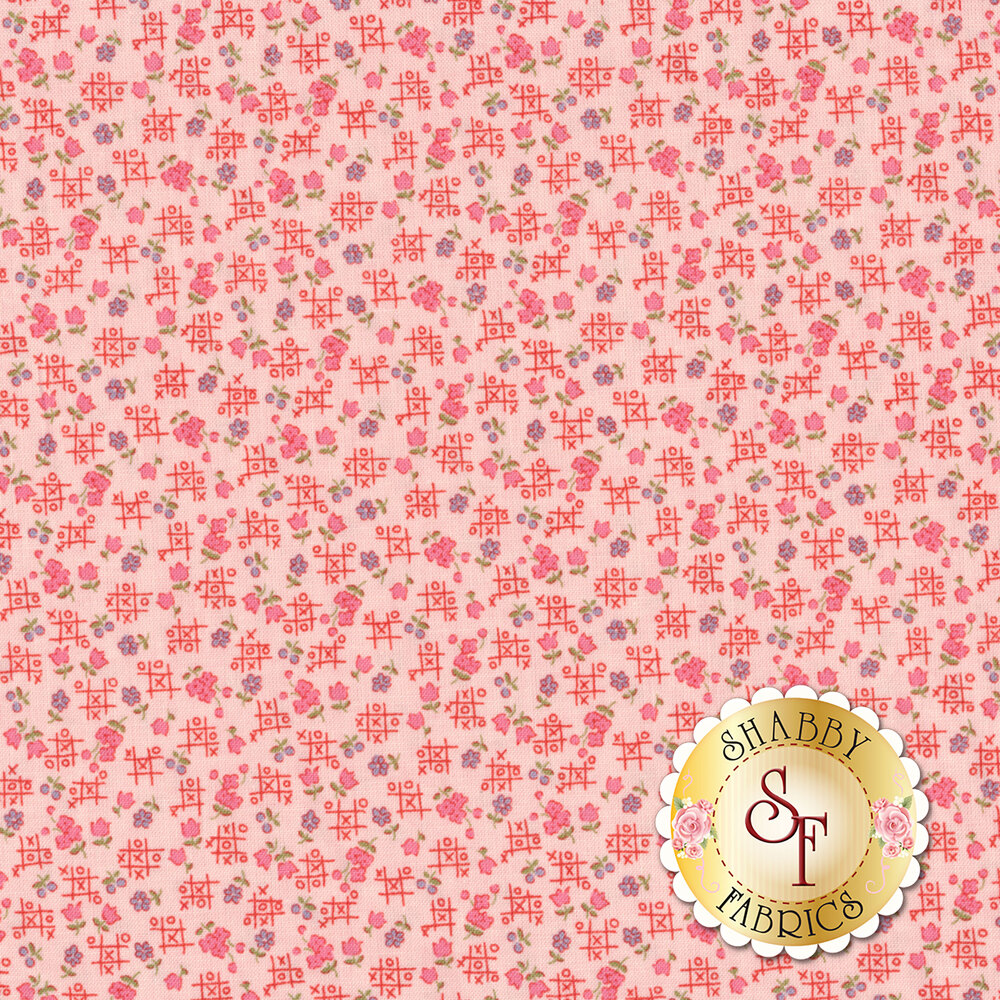 Purple and pink flowers with red tic tac toe boards all over pink | Shabby Fabrics