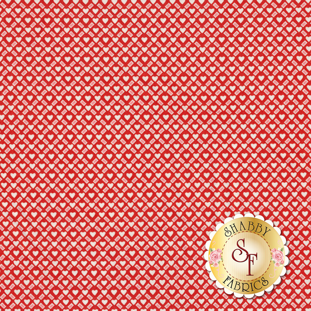 White hearts and pink rectangles all over red   Shabby Fabrics