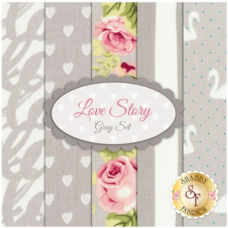 Love Story 5 FQ Set - Gray Set by Riley Blake Designs