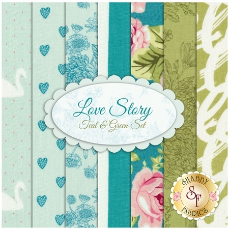 Love Story 7 FQ Set - Teal & Green Set by Riley Blake Designs
