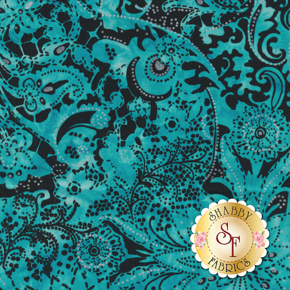 Light blue mottled batik with paisley and floral designs on black | Shabby Fabrics