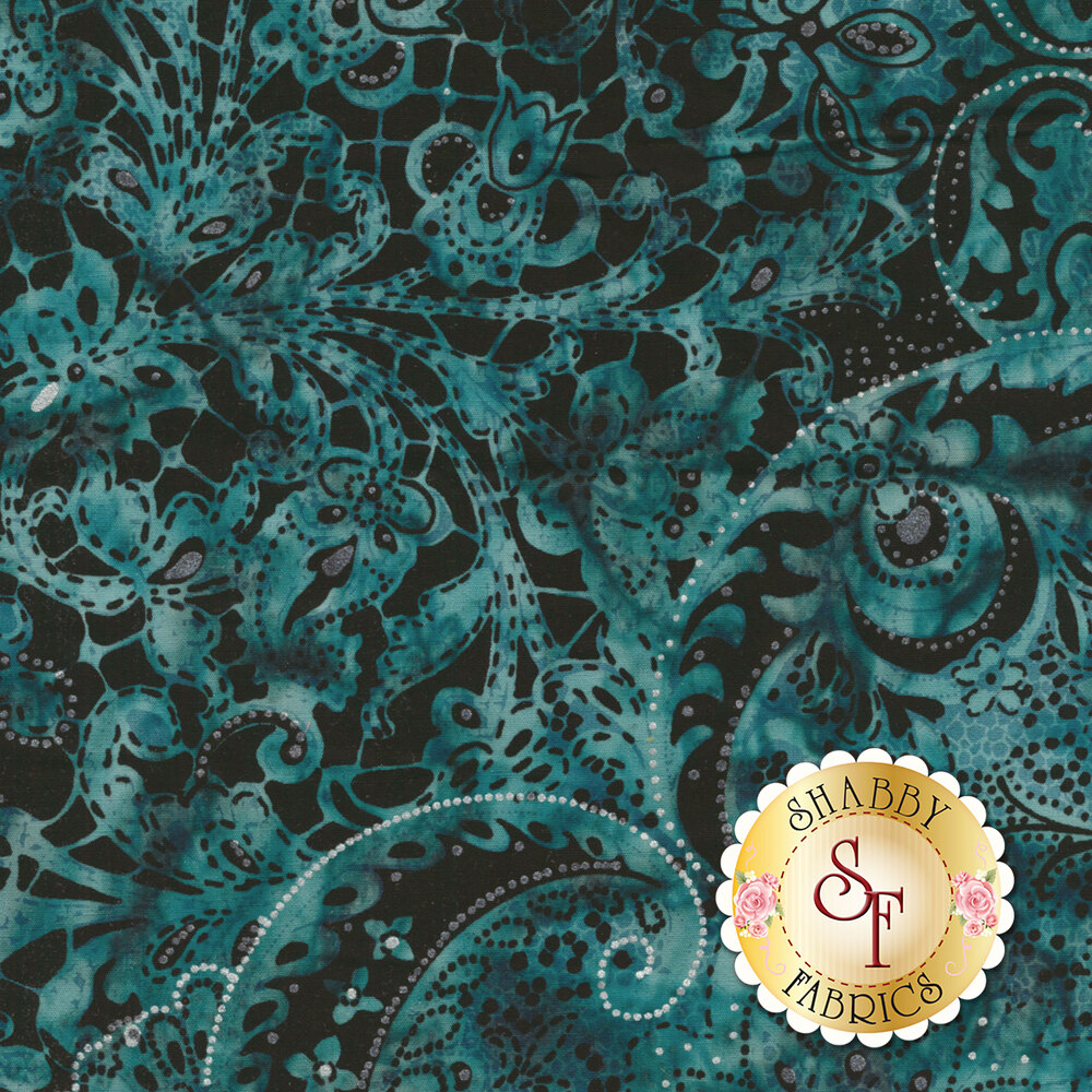 Turquoise mottled batik with paisley and floral designs on black | Shabby Fabrics