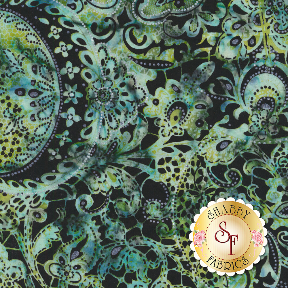 Blue/green mottled batik with paisley and floral designs on black | Shabby Fabrics
