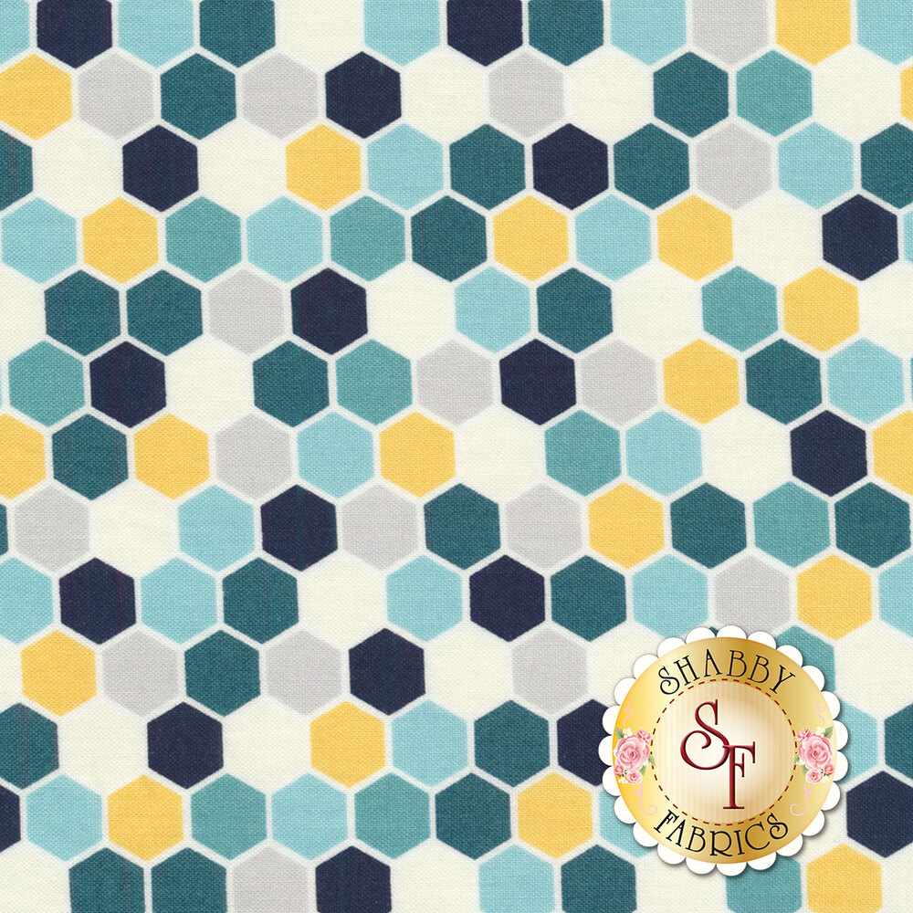 Make Yourself At Home 9398-BS Blue/Sunshine Mini Hexagons for Maywood Studio