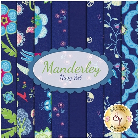 Manderley  8 FQ Set - Navy Set by Franny and Jane for Moda Fabrics