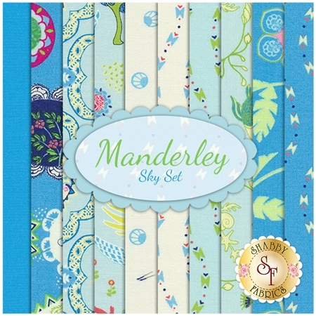 Manderley  10 FQ Set - Sky Set by Franny and Jane for Moda Fabrics