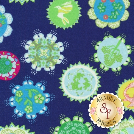 Manderley 47500-13 Navy by Franny and Jane for Moda Fabrics