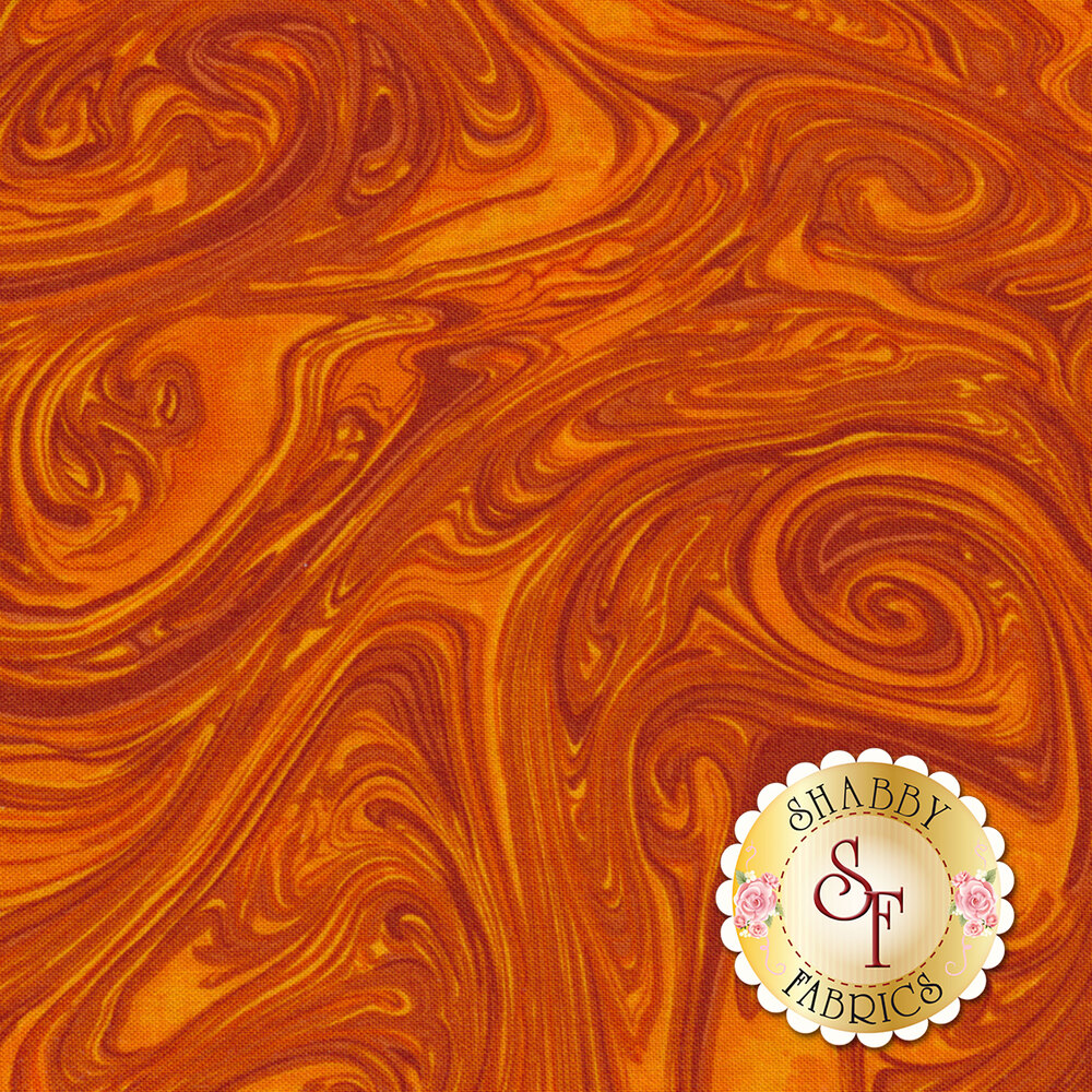 Tonal orange marbled fabric | Shabby Fabrics