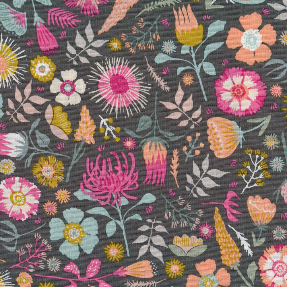 Colorful flowers all over dark grey | Shabby Fabrics