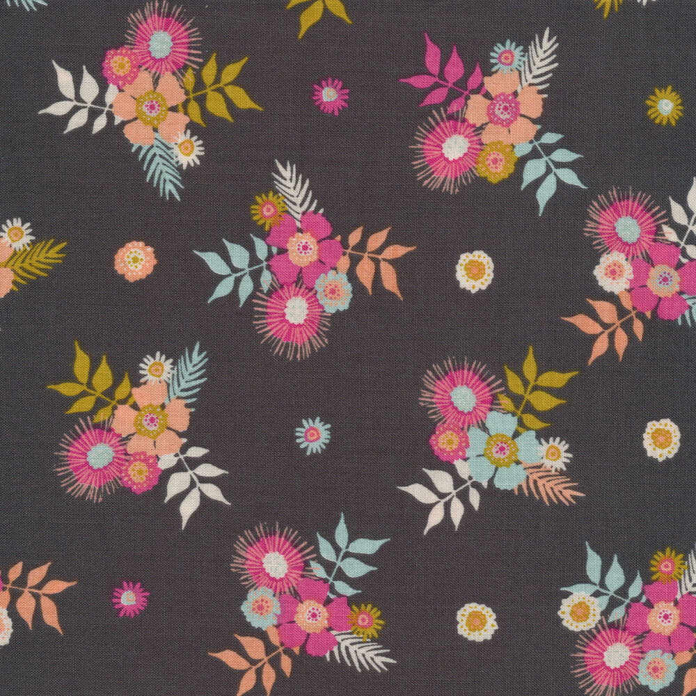 Colorful flower clusters on dark grey   Shabby Fabrics