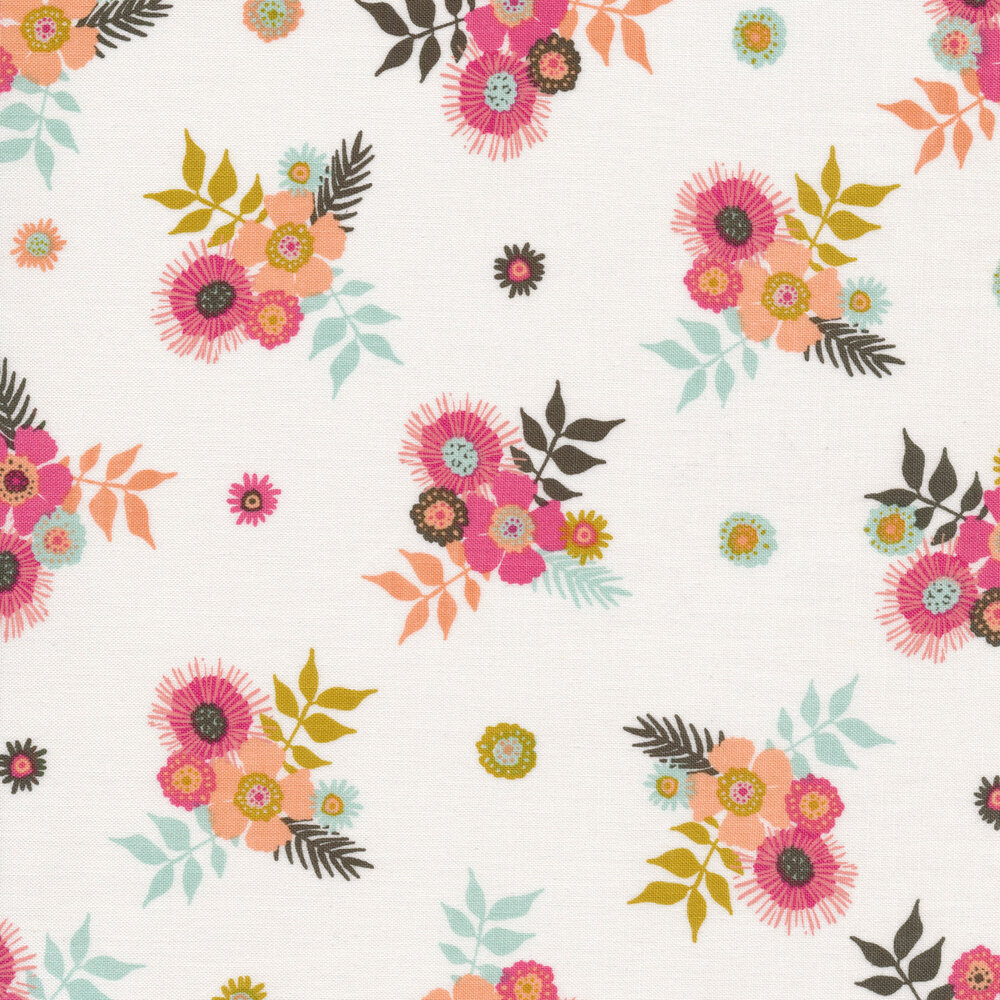 Colorful flower clusters on off white | Shabby Fabrics