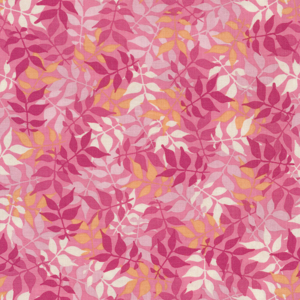 Pink toned leaves and vines | Shabby Fabrics