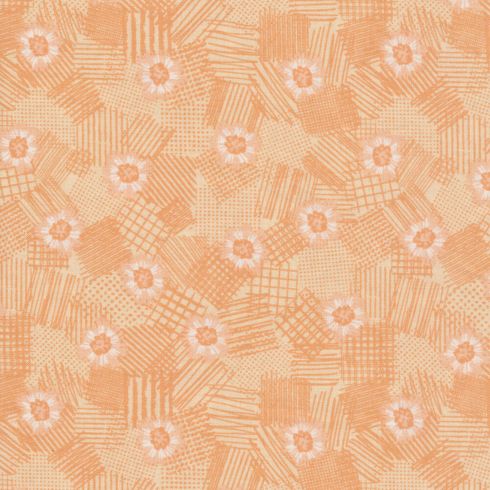 Peach tonal flowers on texture | Shabby Fabrics