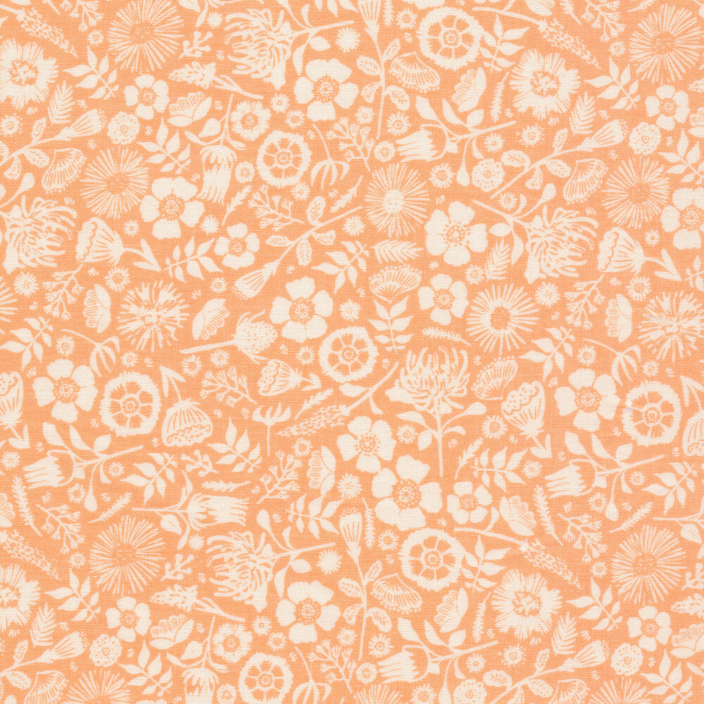 Cluster of flowers on peach | Shabby Fabrics