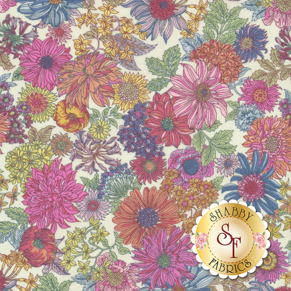 Fabric featuring stunning multi colored flowers on a white background | Shabby Fabrics