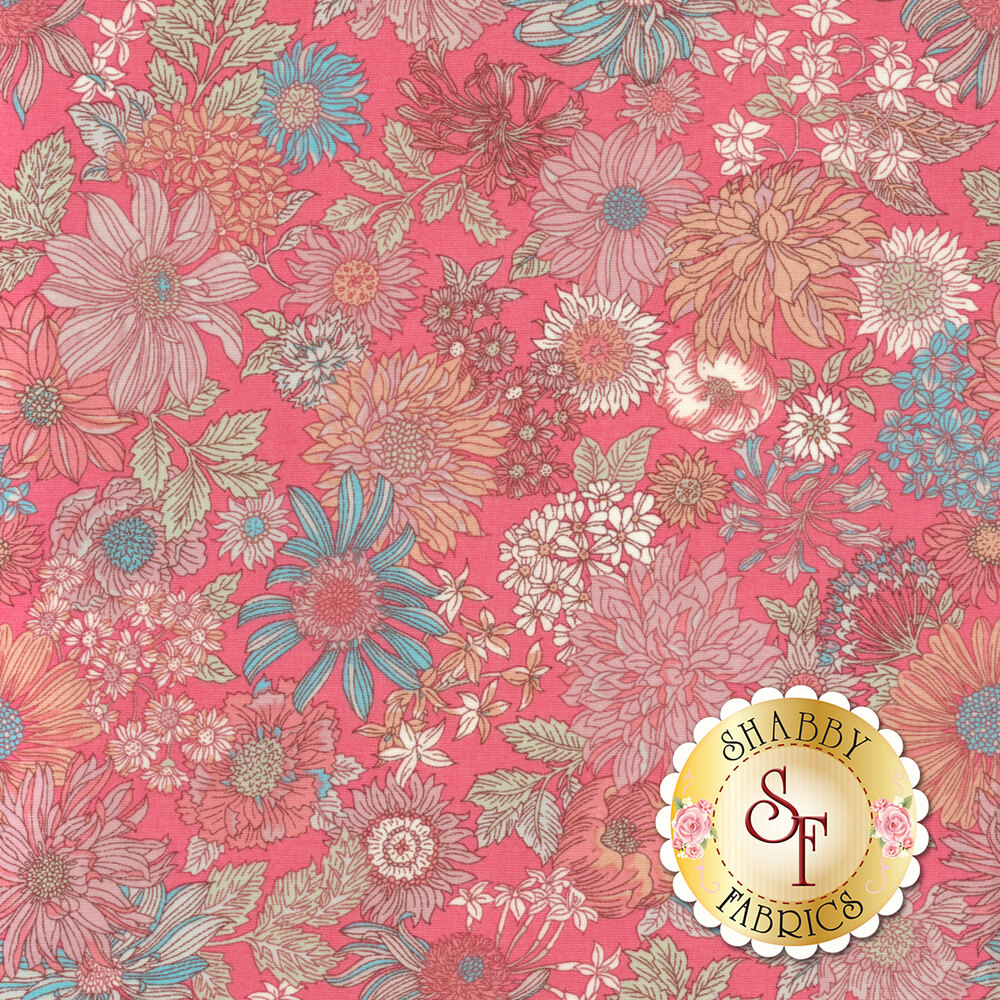 Fabric featuring stunning bold flowers on a pink background | Shabby Fabrics