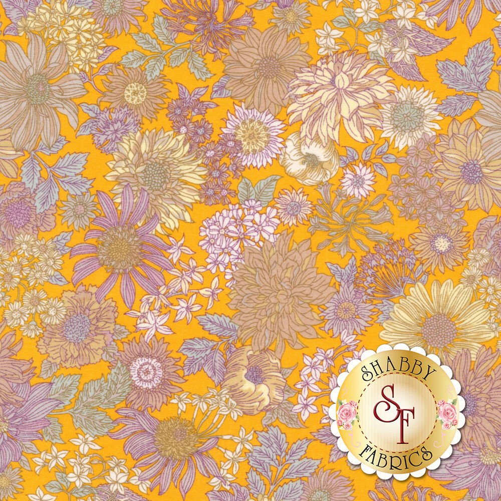 Fabric featuring stunning bold flowers on a yellow background | Shabby Fabrics