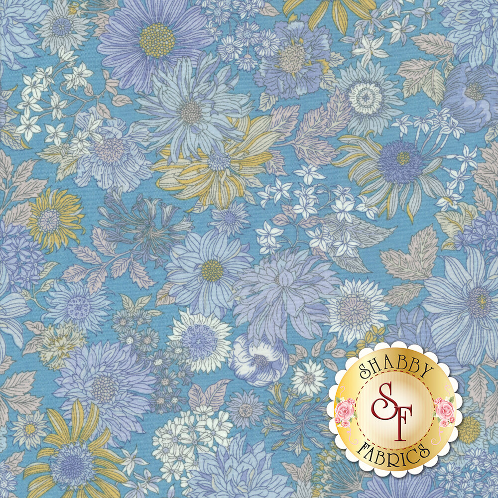Fabric featuring stunning flowers on a blue background | Shabby Fabrics